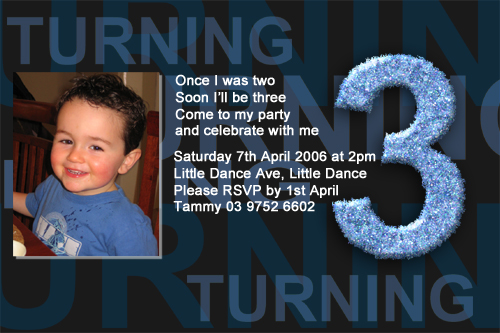 Boys 3rd Birthday Party Invitations