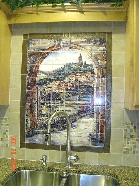 Italian Tile Mural Scene Golden Gate To Umbria | Kitchen bac… | Flickr