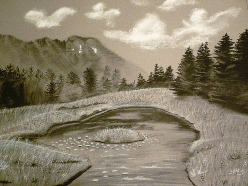 Mountain View Original Charcoal Drawing By Jamies Art Flickr
