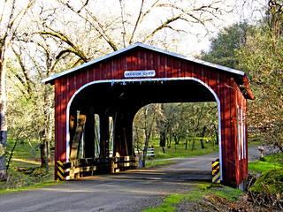 Oregon City covered bridge in early spring | by mariposa lily