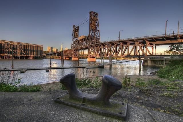 Sunset on Steel Bridge Portland Oregon 1 - HDR