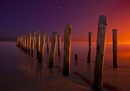 light sunset colour nikon moonlight groynes startrail graal nikkor18028 nikond700 passiondéclic
