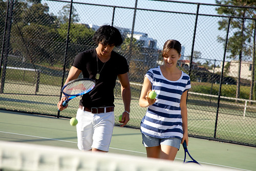 Students on tennis courts