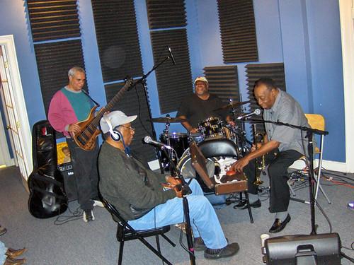 Charles Moore, Bob French, Bunchee Johnson, and Dave Bartholomew at WWOZ 2009.