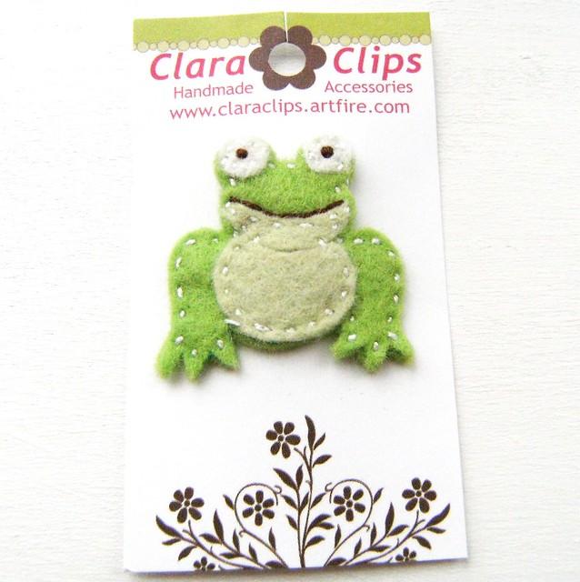 Froggy Wool Felt Hair Clip
