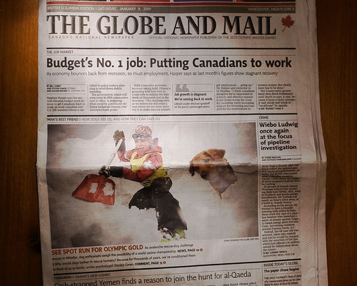 Mon, 2010-01-11 00:01 - Jan 9th front page of the globe... the avitech shovel!  Here's the related blog post.