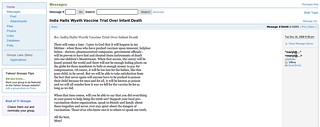 Screenshot of Meryl Dorey's 'instruments of death' yahoo groups post | by David Jackmanson