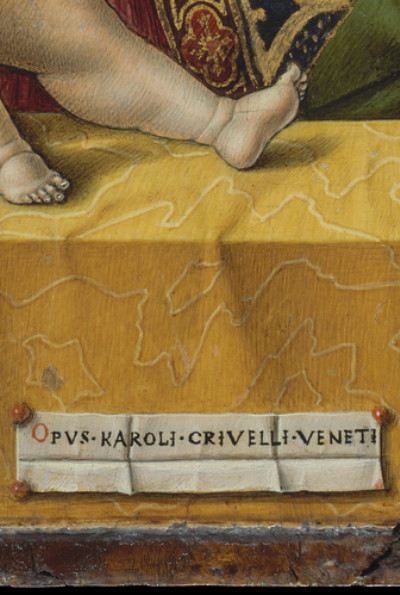 Carlo Crivelli: Madonna and Child, detail Signature (1480)