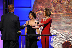 Nip/Tuck's Kelly Carlson and Hot in Cleveland's Wendie Malick co-presented the News Feature award to KCBS Reporter David Goldstein