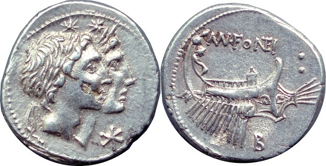307/1c #1095-39 MN.FONTEI Dioscuri Galley Denarius