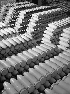 Bombs neatly stacked at the Cherrier bomb-making plant. / Bombes soigneusement empilées à l'usine de fabrication de bombes Cherrier