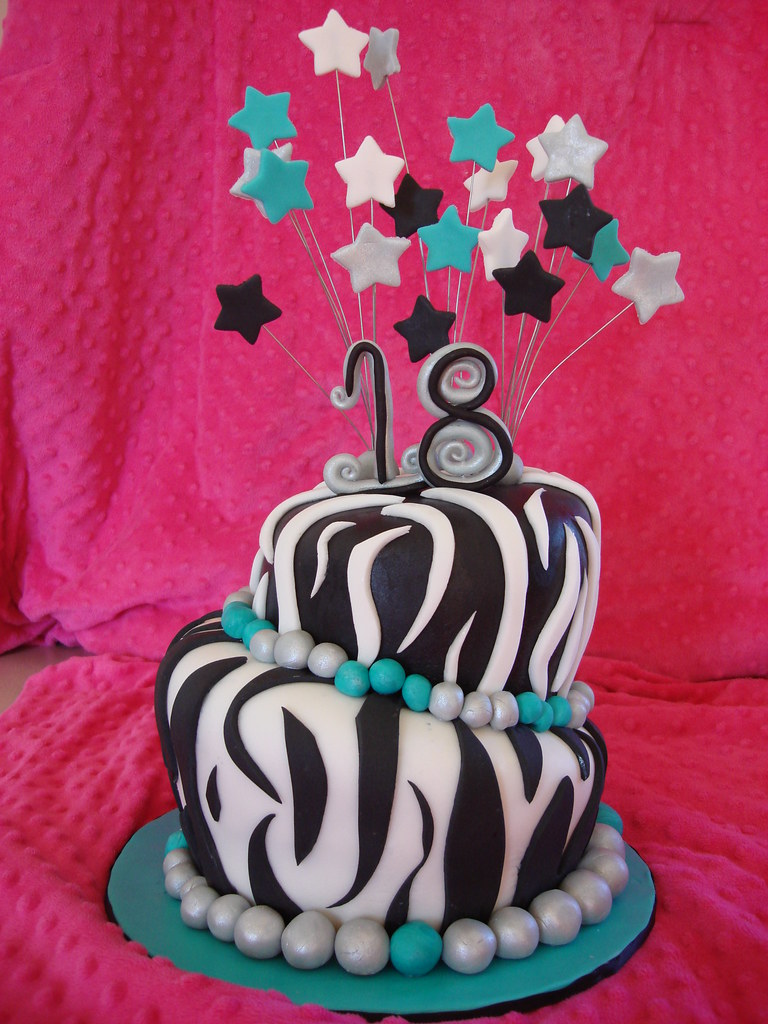 Awesome Zebra Print 18Th Birthday Cake Amy Johnson Flickr Funny Birthday Cards Online Overcheapnameinfo