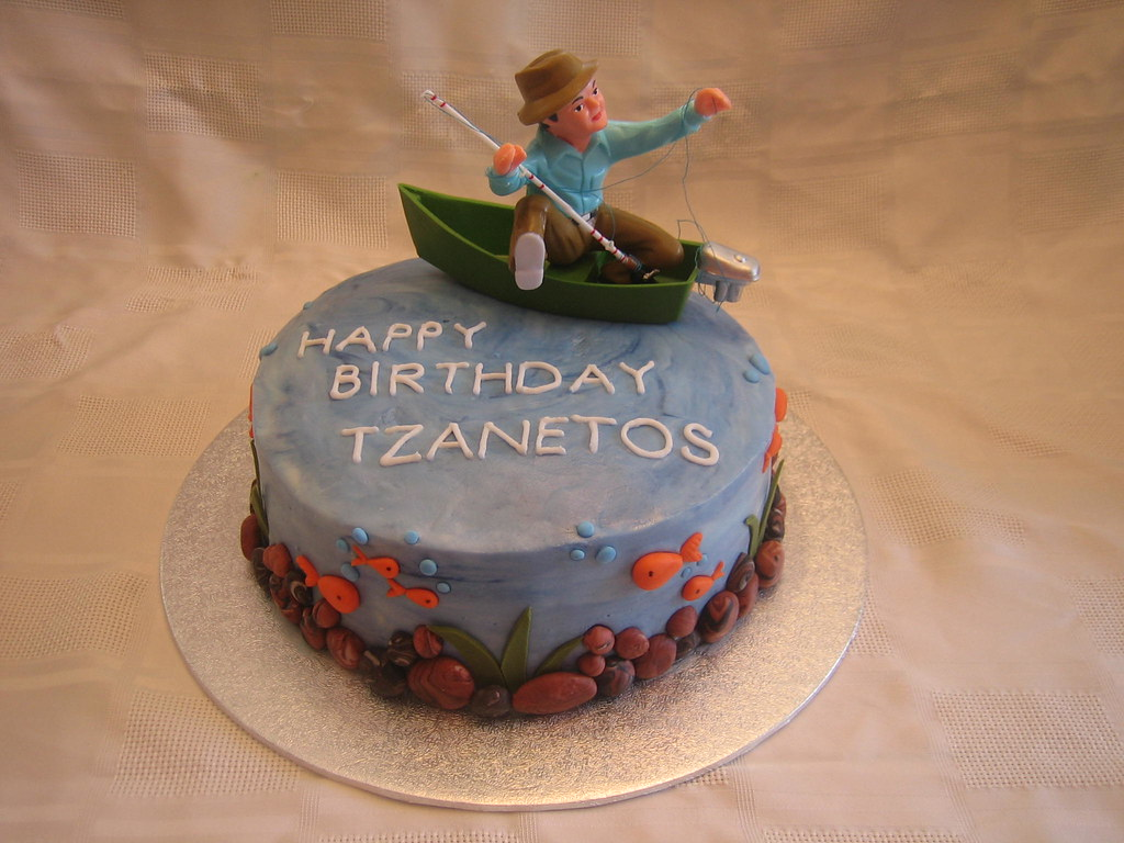 Tremendous Fishing Birthday Cake Fishing Birthday Cake With Fondant S Flickr Funny Birthday Cards Online Elaedamsfinfo