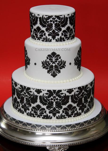 Damask Pattern Wedding Cake