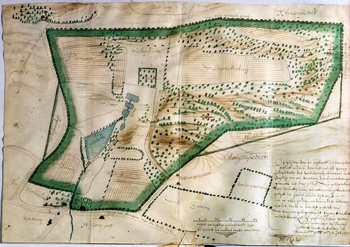 Kaart van het kloostergoed van monnikenhuizen