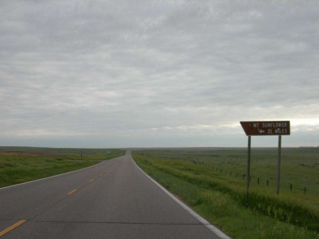 Sign pointing to Mount Sunflower, Kansas image - Free