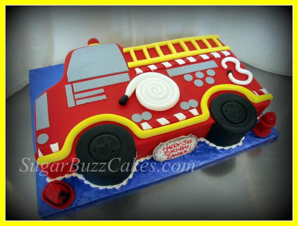 Stupendous Red Fire Truck Birthday Cake Carol Flickr Funny Birthday Cards Online Alyptdamsfinfo