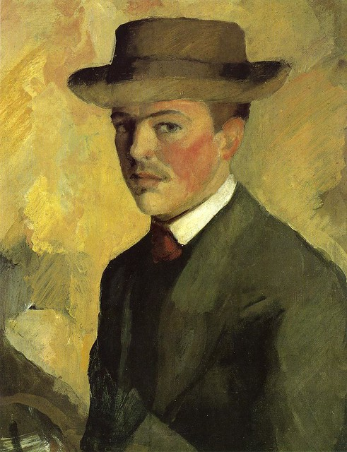 August Macke 1909 Self Portrait with Hat - Bonn, Kunstmuseum; Ath