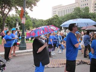 BP Dead Pelicans Lafayette Square Feathered Umbrella