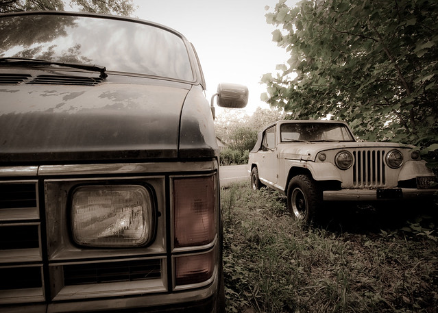 Ram Van and Jeepster off bike trail near Corwin, Ohio