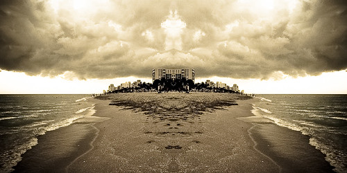 sepia clouds sand experimenting hollywoodbeach hollywoodflorida