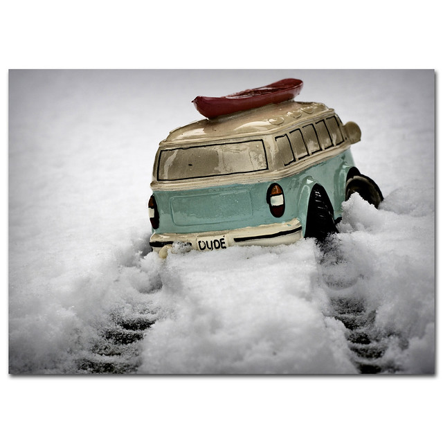 Dude, forget the man-cold, its snowing out there, put the boards on the vee-dub soul-mobile and lets go catch some rides in the snow