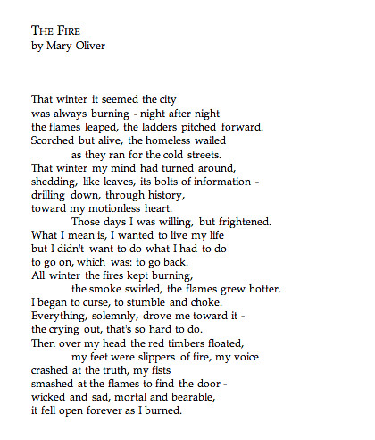 The Fire -- Mary Oliver | by deepseathoughts