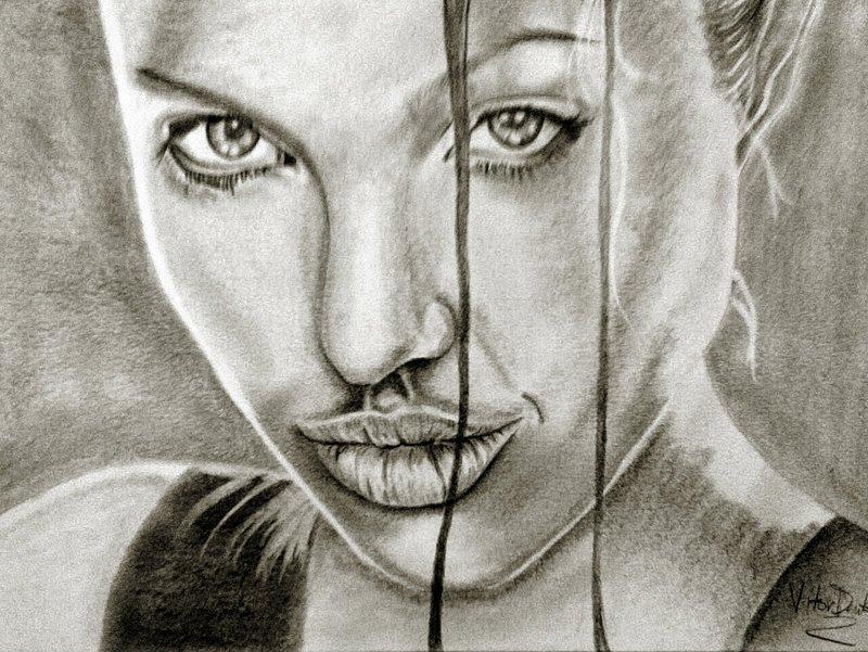Angelina Jolie Grafite Meu Primeiro Desenho Realista Flickr