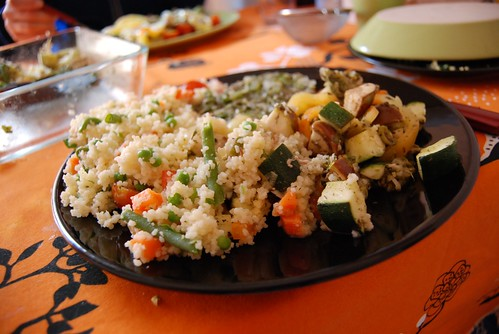 Tuna with vegetables and cuscus