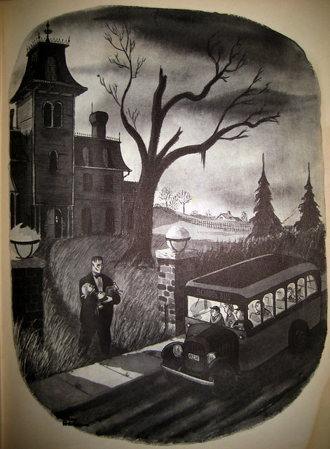 The Addams Family - Morticia - Lurch walking Pugsley to the school bus 2348