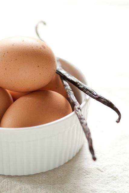 Eggs and vanilla beans