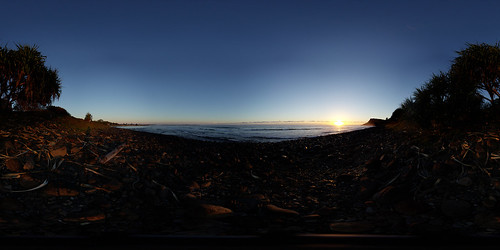 ocean trees sky panorama beach water sunrise rocks surf australia nsw lennoxhead ptgui equirectangular nodalninja3 nn3