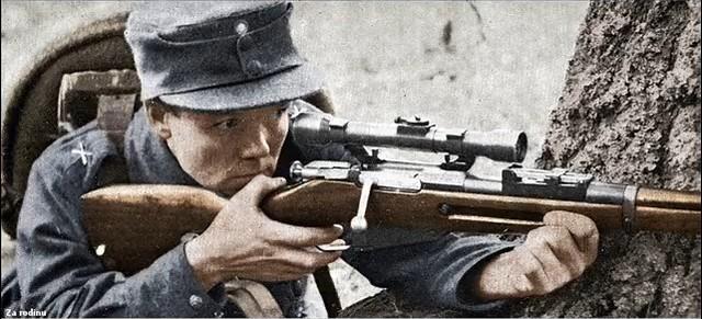 Finnish sniper aim's his Mosin Nagant - WWII | Recolored usi