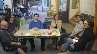 The April Meetup gang, half-assembled
