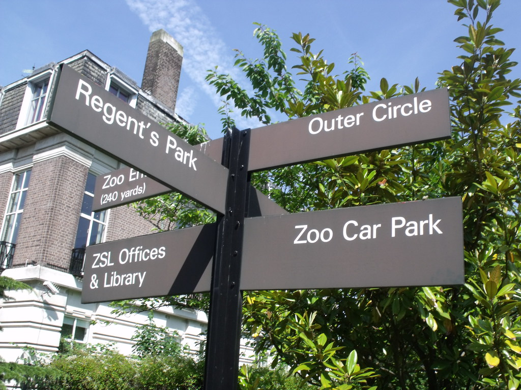 London Zoo direction's sign from the Outer Circle