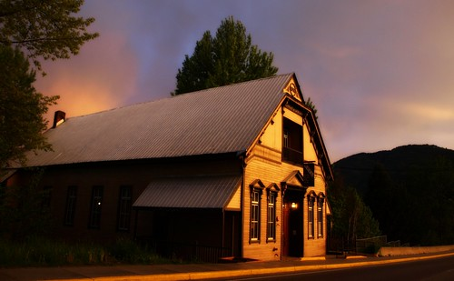 sunset storm buildings historical rossland minersunionhall minershall