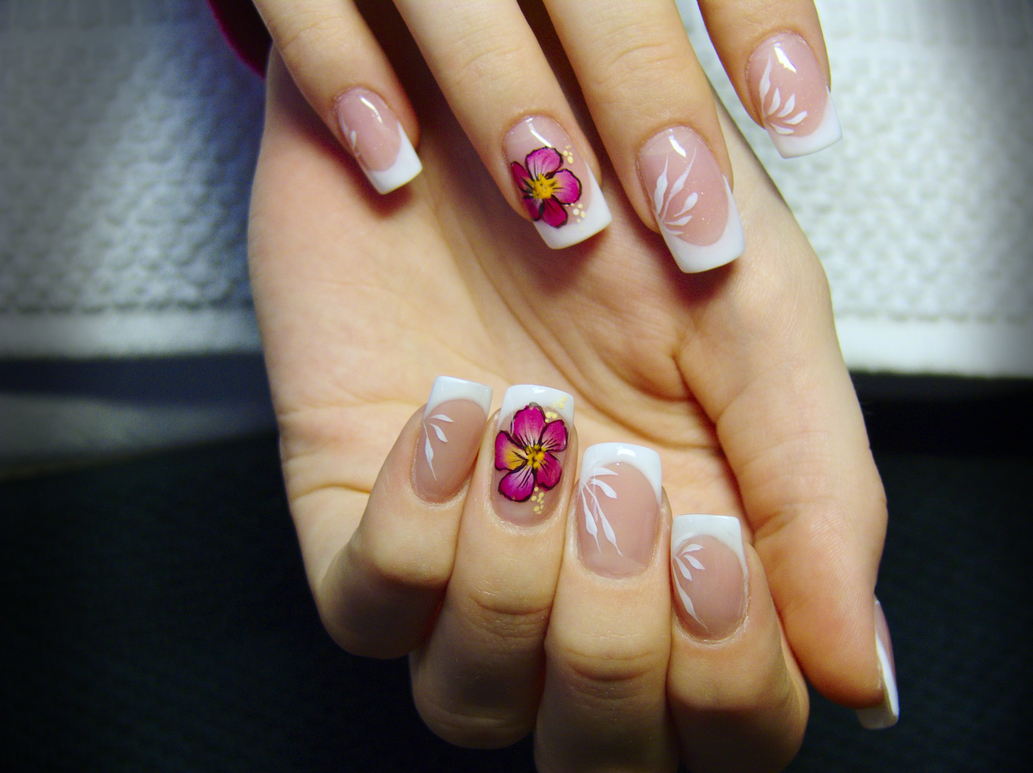 French manicure with magenta flower | Acrylic Nail Designs To Rock This Spring | short acrylic nail designs