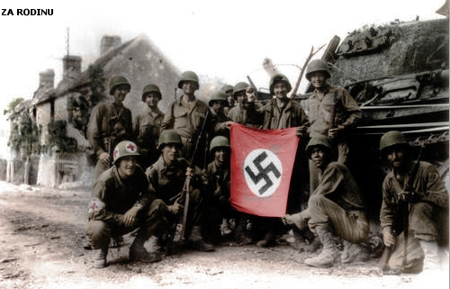 American soldier's with captured Nazi Flag ww2 | by Za Rodinu