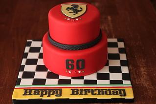 Enjoyable Ferrari Inspired Cake Ferrari Lover Turning 60 Checkered Flickr Funny Birthday Cards Online Ioscodamsfinfo