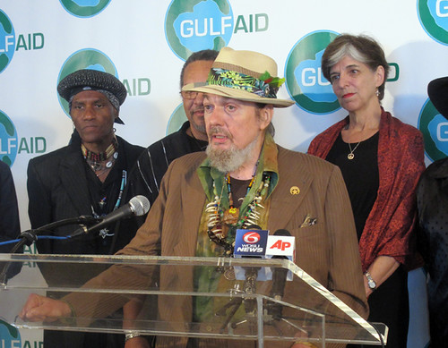 Dr. John gives the media what for at a V.O.W. press conference during Gulf Aid