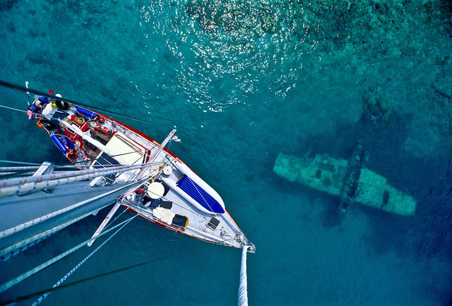 ship-sunken-ship | View from atop the mast of the private ya