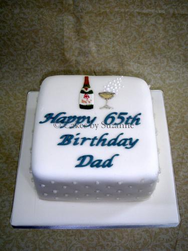 Wine Bottle And Glass Birthday Cake