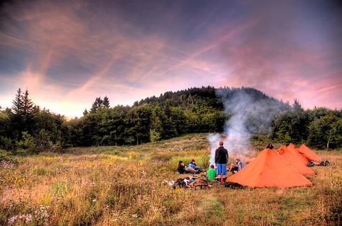 pink trees sunset camp field clouds fire smoke northcarolina tent hike backpacking hiker hdr highdynamicrange campsite mountainhardwear photomatixpro nikond80 andrewvernon topazadjust roughbuttbald aperture3