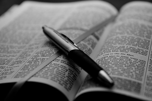 Open Bible with pen - B&W | by Ryk Neethling