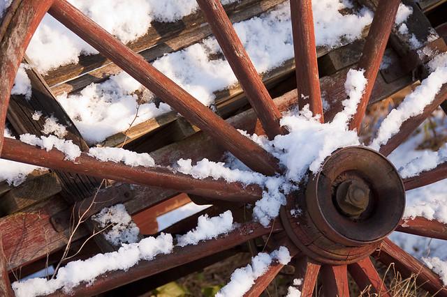 Wagon Wheel in Snow