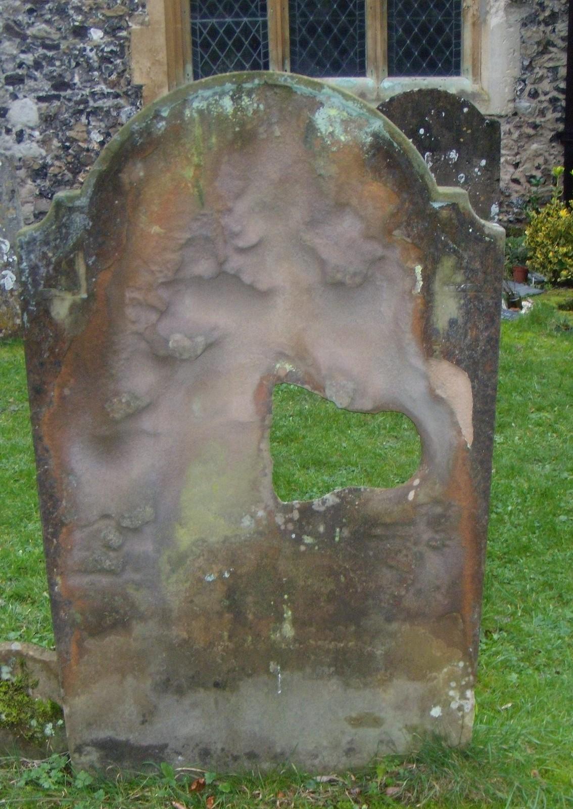 Weathered tombstone Shoreham Church. Eynsford to Shoreham