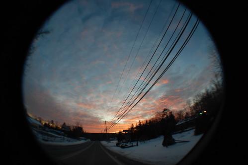 winter sunset lake fisheye wallenpaupack
