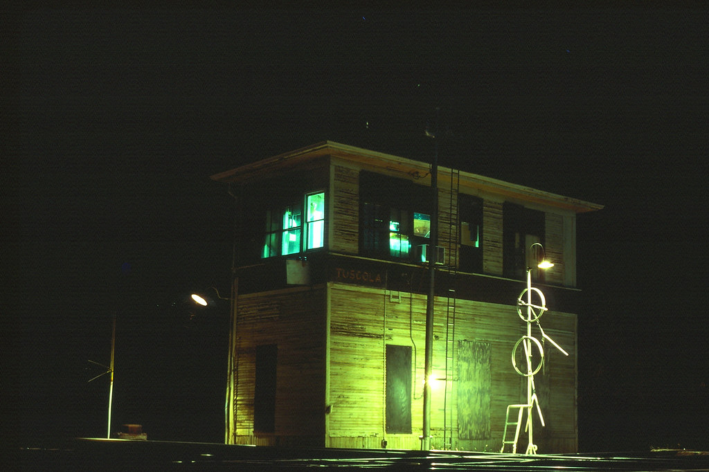 TY tower (Tuscola, IL) at night