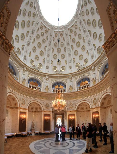 Wide-angle stitch of the Italian Hall inside Pavlovsk Palace