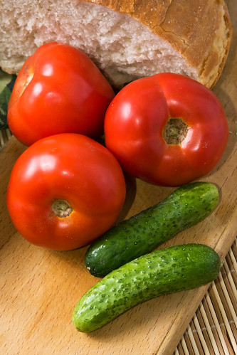 Tomatoes, cucumbers and homemade bread | by Horia Varlan